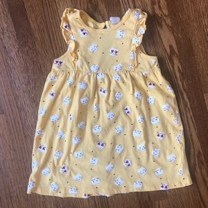 yellow kitty cat sleeveless dress w/ ruffle detail